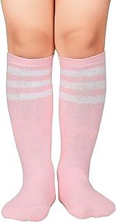 Kids Toddler Soccer Socks Knee High Tube Socks Three...