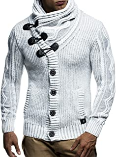 Leif Nelson LN5065 Men's Cardigan with Faux Leather Accents