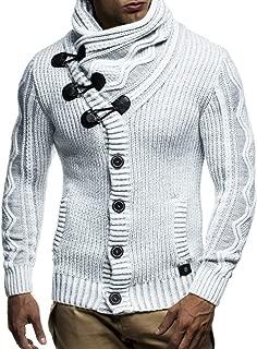 LEIF NELSON LN5065 Men's Cardigan With Faux Leather Accents,Ecru Grey,US-S / EU-M