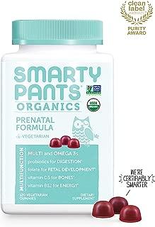 Daily Organic Gummy Prenatal Multivitamin: Probiotics, Biotin, Vitamin C, D3, E, B12, A, Omega 3, Zinc, Selenium, Niacin, Iodine, Choline, Methylfolate by SmartyPants (120 Count, 30 Day Supply)