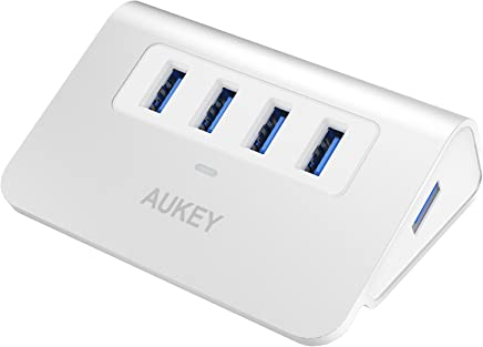 AUKEY Hub USB 3.0 4 Ports SuperSpeed en Aluminium Câble USB 100 cm Inclus Data Hub Compatible avec Windows XP/ Vista/ 7/ 8/ 10, Mac OS, Linux etc ( Argent )