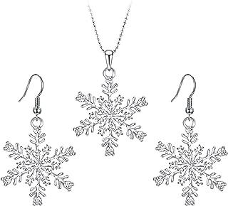 EVER FAITH Austrian Crystal Snowflake Flower Pendant Necklace Earrings Set