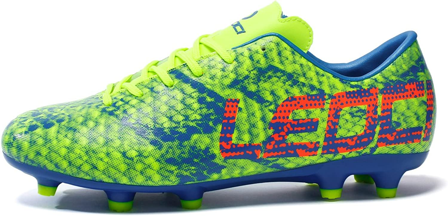 LEOCI Men and boy Athletic Soccer SportsFootball Turf shoes Trainers Cleats shoes (10 D(M) US, Green)