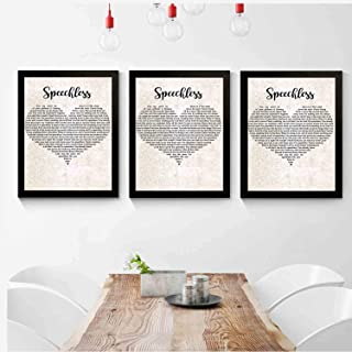 kalistamao 【3-Piece Set!!!】 Art Picture Frame-Speechless Lyrics Poster Print -Bedroom,Office,Living Room,Coffee Shop,Elegant Decor 14x11inch