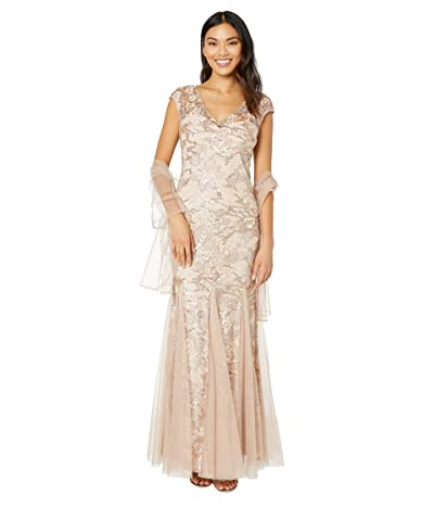 Alex Evenings Long Embroidered Fit-and-Flare Dress with Godet Detail Skirt and Shawl (Rose Gold) Women
