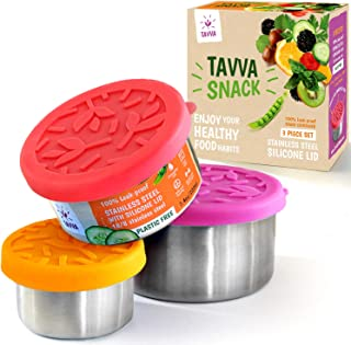 TAVVA Stainless Steel Food Containers - Plastic Free   Leakproof Toddler Lunch Box   Silicone Lids   Reusable   Tupperware Containers – Also Suitable as Kids Lunch box and To Go Containers [Set of 3]