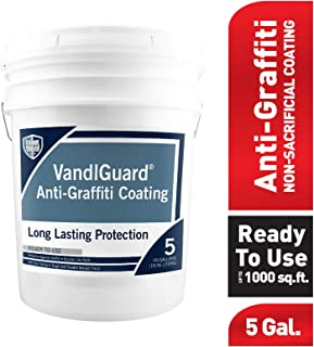 Rain Guard Water Sealers VG-7000 5 gal Ready to Use Vandlguard Non-Sacrificial Anti-Graffiti Coating – Painted & Unpainted Concrete, Block, CMU, Brick, EIFS, Stucco, Wood & Painted, Clear