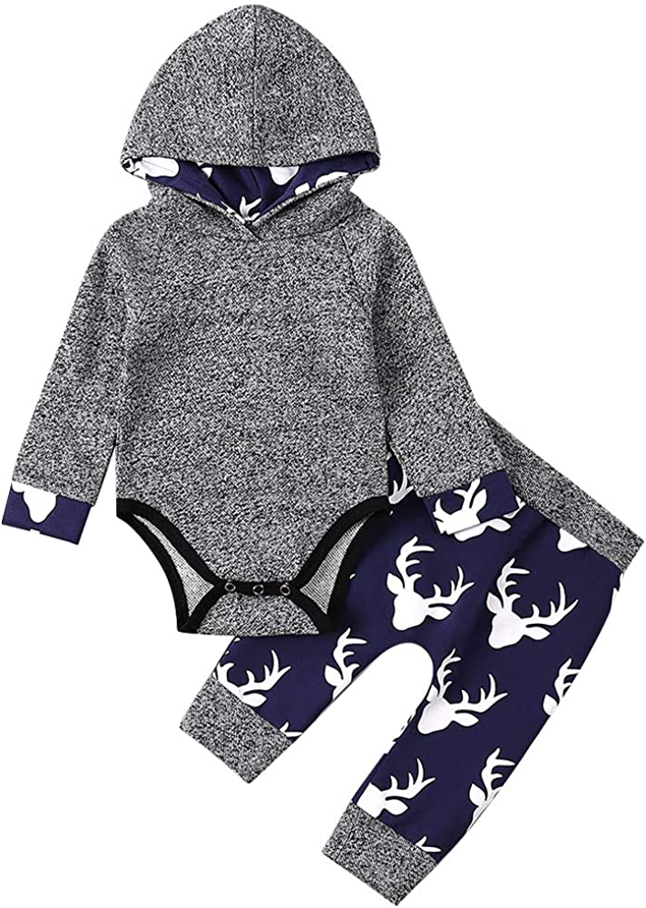 Toddler Baby Boys Clothes Deer Hoodie Romper Tops Sweatshirt Pants Outfit Set 3-6 Months