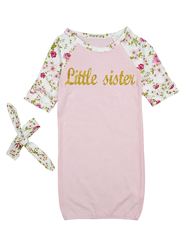 Baby Sleeping Bag Girls Pink Sleepwear Little Sister Floral Sleep Bag Pajamas Gowns with Headband Set