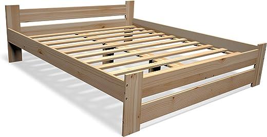 Best For You Massivholzbett Doppelbett Futonbett Massivholz Natur Seniorenbett erhöhtes Bett aus 100% Naturholz mit Kopfteil und Lattenrost viele…