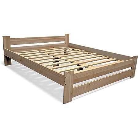 Best For You Lit futon, double, surélevé, en 100% de bois massif naturel, avec tête de lit et sommier à lattes,disponible en plusieurs tailles