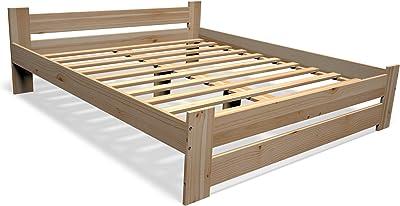 Best For You - Cama doble de madera maciza en color natural ...