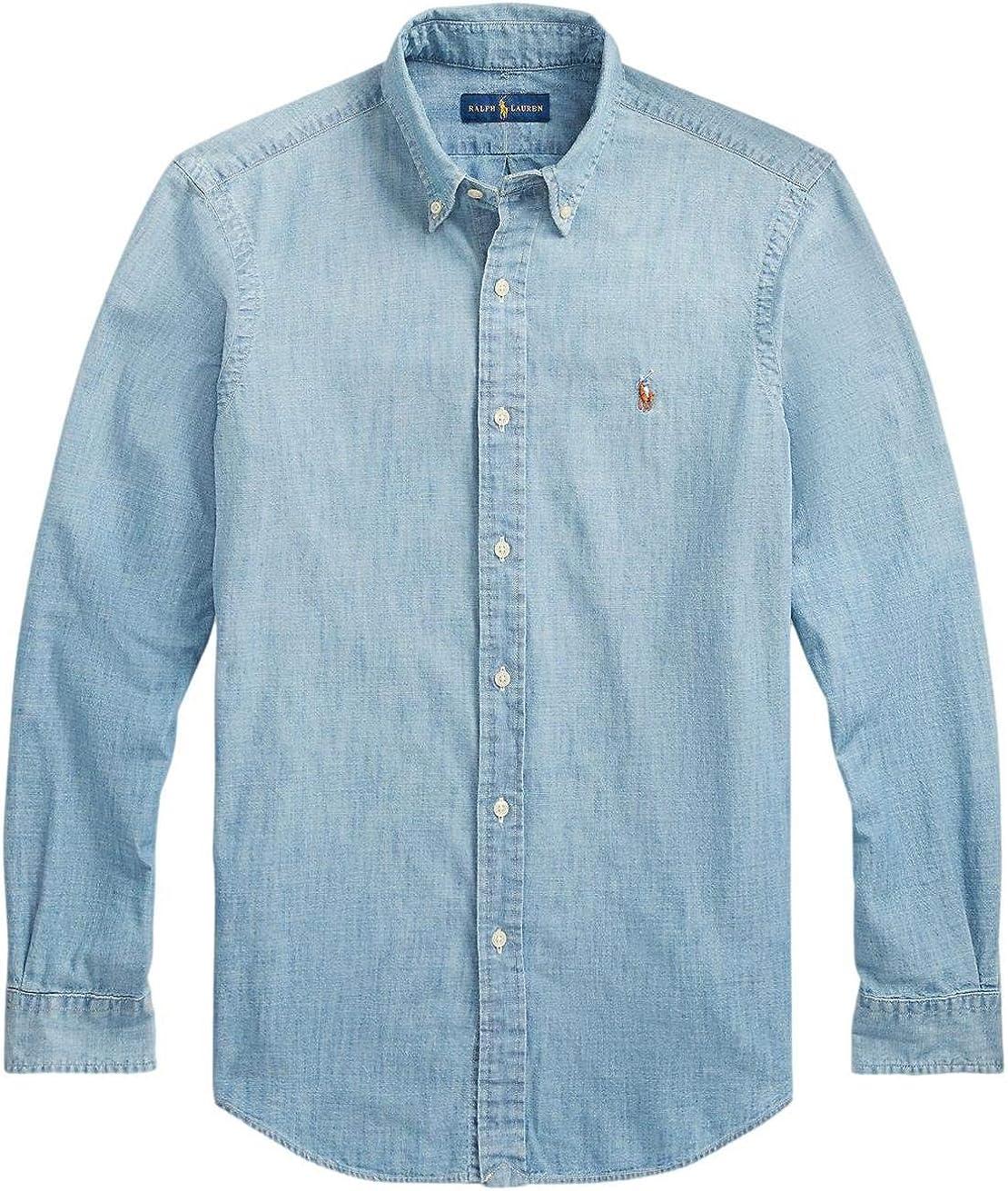 Polo Ralph Lauren Men's Big and Tall Long Sleeves Classic Fit Oxford Buttondown Shirt (XLT, LiteChambray)