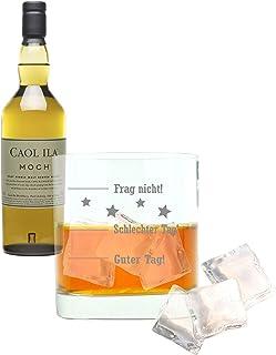 Whiskey 2er Set, Caol Ila Moch, Single Malt, Whisky, Scotch, Alkohol, Alokoholgetränk, Flasche, 43%, 700 ml, 647695, Geschenk zum Vatertag, mit graviertem Glas