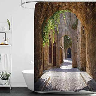 homecoco Shower Curtains Black and White Kids Tuscan,Ancient Italian Street in a Small Provincial Town of Tuscan Italy European,Brown Green Grey W48 x L72,Shower Curtain for Kids