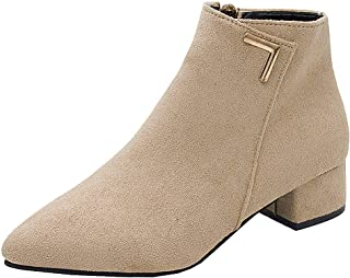 Women Suede Short Boots Ankle, Ladies Solid Pointed Toe Low Square Heel Ankle Boots Shoes