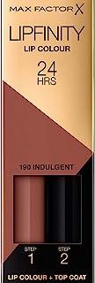 Max Factor Lipfinity Lip Colour Indulgent 190 – Kussechter Lippenstift mit 24h Halt ohne auszutrocknen, intensiver Farbabgabe & präzisem Applikator - mit intensiv pflegendem Gloss-Top Coat