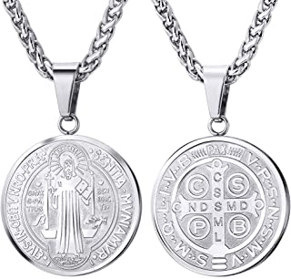 U7 Saint Benedict Medal Necklace 18K Gold or 316L Stainless Steel Christian Sacramental Medal Ward Off Evil Protection Jewelry Catholic Gift for Men Women, Offer Custom Engrave on Clasp