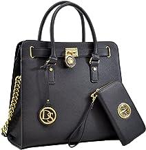 Womens Large Fashion Handbag Top Belted Padlock Satchel Top Handle Shoulder Bag Purses w/Matching Wallet