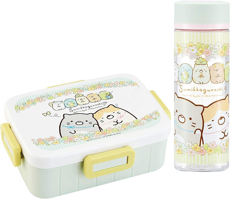 Skater Sumikko Gurashi Cat Siblings - Set of 21oz Japanese Bento Lunch Box with 13.5oz Water Bottle - (1tier Bento, Bottle)
