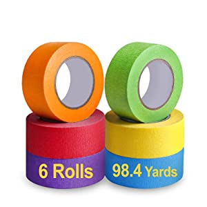 Colored Masking Tape, Colors Painters Tape Rainbow Colorful Paper Tape for Art Crafts Teacher Kids Labeling Decorative DIY Supplies, 6 Rolls, 1 Inch Wide x 16.4 Yards Long