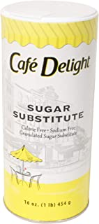 Café Delight Sugar Substitute Sweeteners Sucralose Yellow Canisters, 16 oz (Pack of 12)