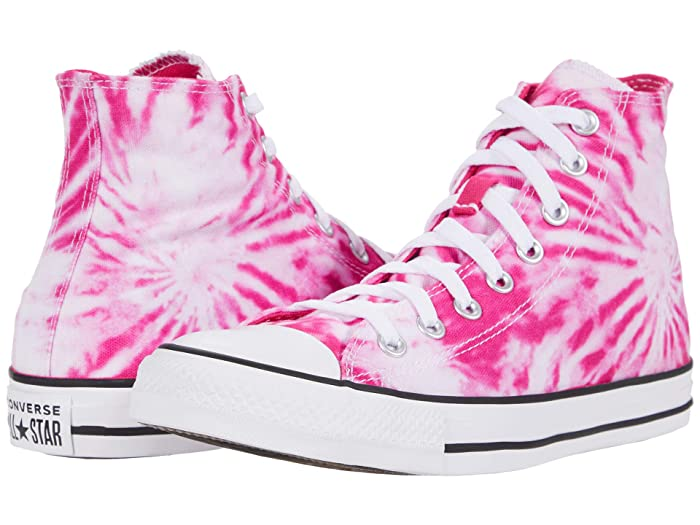 Vintage Sneakers, Retro Designs for Women Converse Chuck Taylorr All Starr Hi - Tie-Dye Cerise PinkGame RoyalWhite Classic Shoes $44.95 AT vintagedancer.com