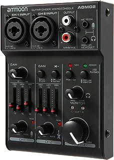 ammoon ミニ2チャンネルサウンドカードミキシングコンソールデジタルオーディオミキサー2バンドEQ内蔵48Vファンタム電源5VUSB電源付きホームスタジオレコーディングDJネットワークライブブロードキャストカラオケ