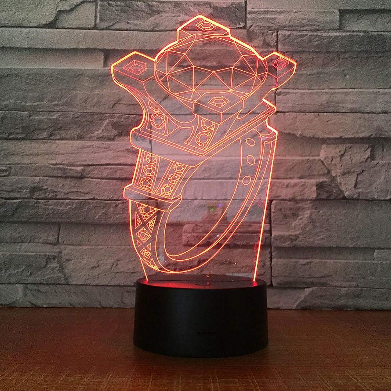 Laofan Ring 3D Lampe 7 Farben Kinder Geschenk Touch Nachtlicht Für Kinder 3D Schreibtisch Tischlampe,Fernbedienung