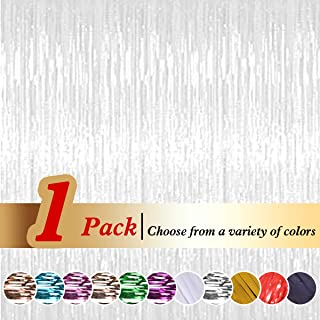 Ariceleo Tinsel White Foil Curtains Metallic Fringe Curtains Shimmer Photo Booth Backdrop Curtain for Birthday Wedding Party Christmas Decorations (White,1 Pack)