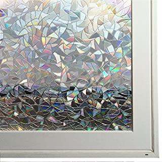 Bloss Decorative Window Films Rainbow Effect Privacy Window Clings Non-Adhesive 3D Window Covering Film for Glass, Door, Window 35.4'' by 78.7''