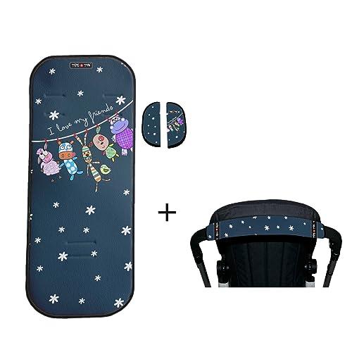 Tris & Ton conjunto colchoneta silla paseo + empuñadura funda protector manillar modelo Friends + protector