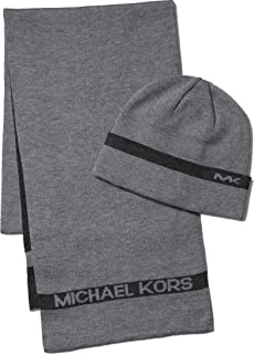 Michael Kors Color Stripe Muffler & Cuff Set (Ash/Grey)