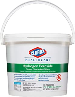 Clorox Healthcare Hydrogen Peroxide Cleaner Disinfectant Wipes, 185 Count Bucket (30826)