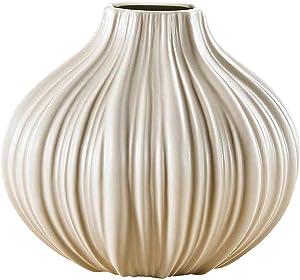 Pure. Lifestyle - Vase Rond Pot de FLeur Plante en Porcelaine Céramique Forme Ail Décoration Art Ornement Maison Cadeau Mariage Fête Anniversaire