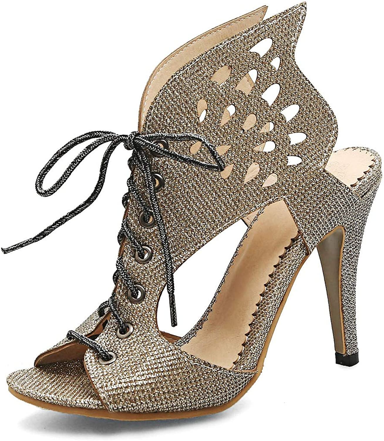 Mo Duo New Women high Heel Sandals Leaf Flame Gladiator Sandal shoes Party Dress shoes Woman