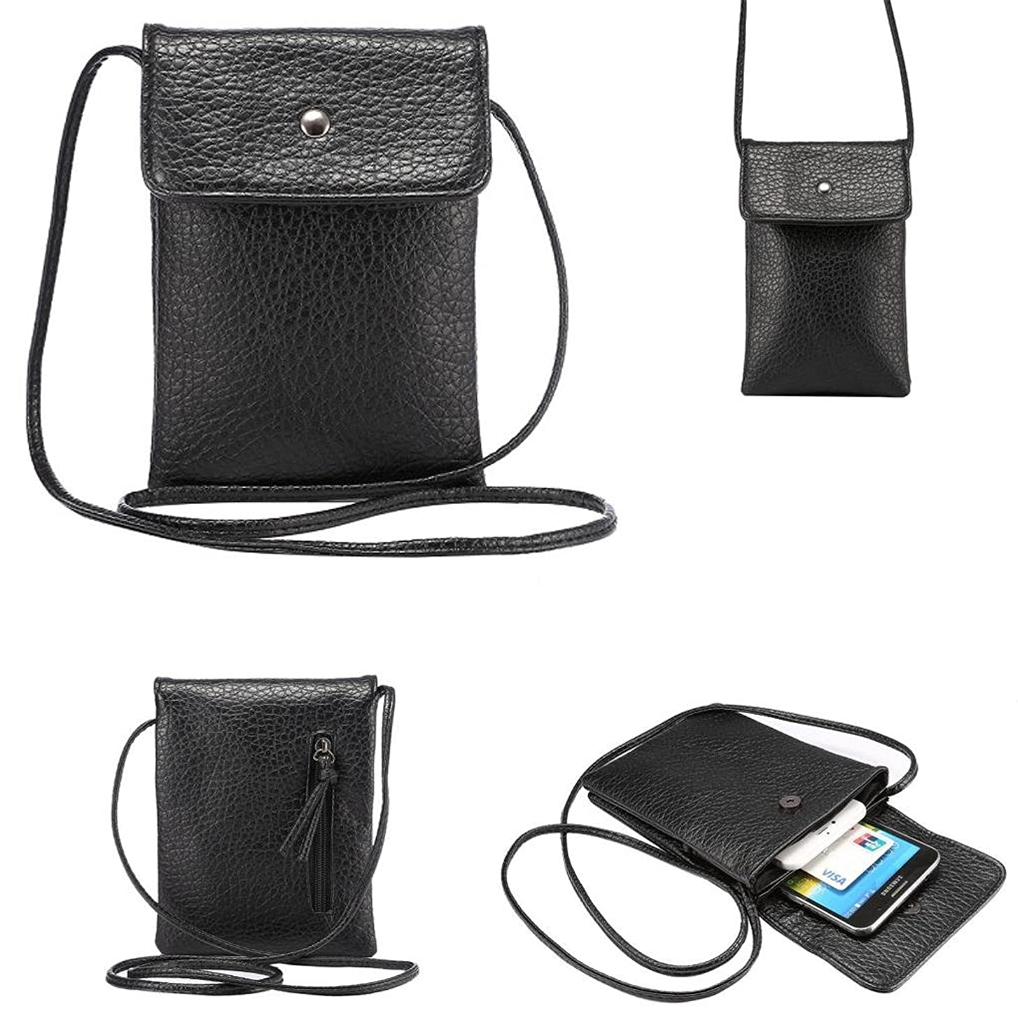 WaitingU Universal Crossbody Cell Phone Bag PU Leather Carrying Cases Credit Card Holder Shoulder Pouch Bag for iPhone 6/6S Plus 6/6S Samsung Galaxy Note Series Phones Under 6.2 inchs -Black