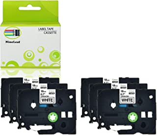 NineLeaf Standard Laminated TZ TZe Label Tape Compatible for Brother P-Touch PTD450 PT-D600 PT-D400 Label Maker TZe241 TZ241 TZe-241 TZ-241 Black on White 18mm 3/4'' x 26.2 ft 8m 6 Pack