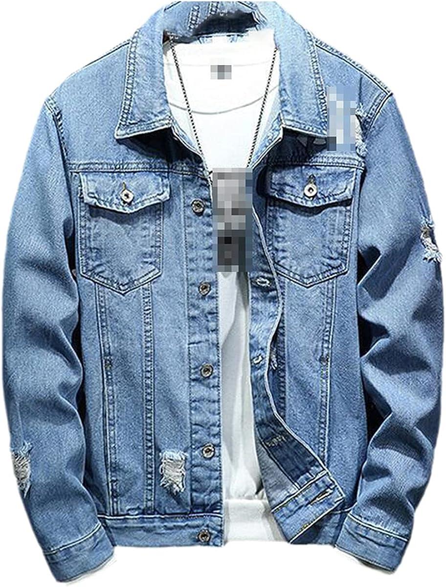 Pilot Denim Jacket Men's Ripped Blue Autumn/Spring Washed Denim Jacket