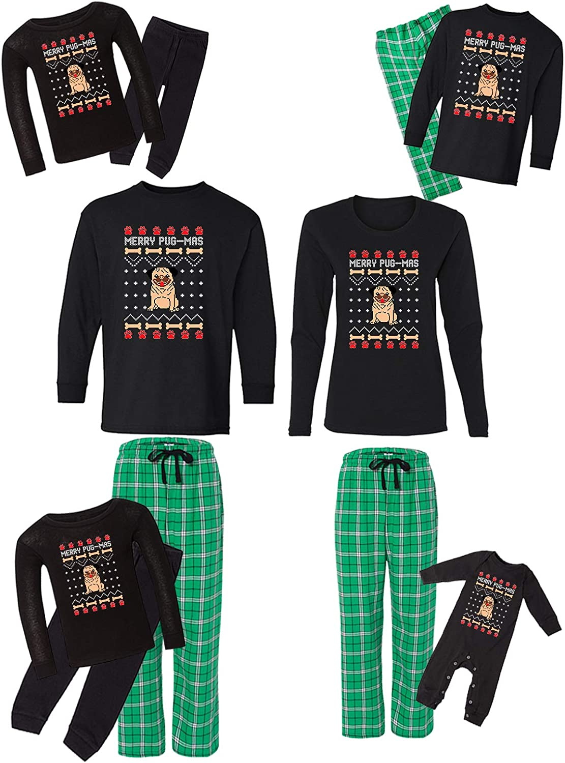 Don't miss the campaign Awkward Styles Family Christmas At the price of surprise Pajamas Green Merry Set Pugmas M