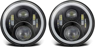 Vplus 7 Inch Round LED Headlights High Low Beam White Halo Ring Angel Eyes White DRL + Amber Turning Signal Lights Compatible with Jeep Wrangler JK TJ CJ, Hummer H2 H1 (Pair)
