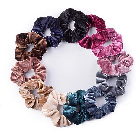 Set of 10 velvet scrunchies hair accessories