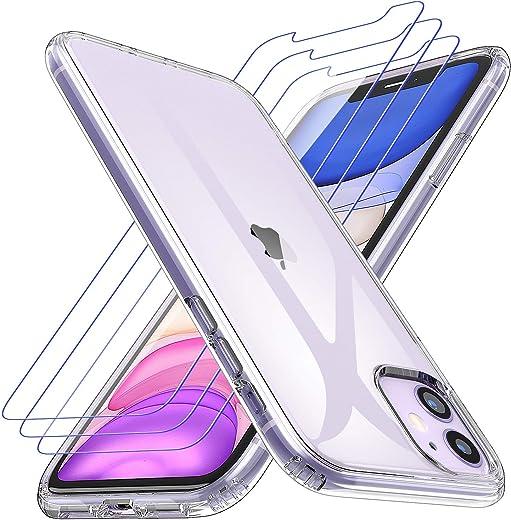 Losvick Coque pour iPhone 11, 2 Pack Verre Trempé Protection écran, Transparent Silicone TPU Etui Protection Housse Bouton Détachable Cover...