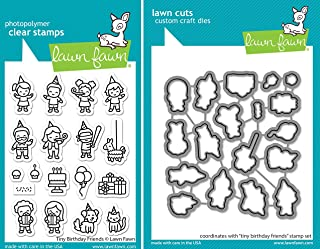 Lawn Fawn - Tiny Birthday Friends Stamps and Dies - 2 Item Bundle