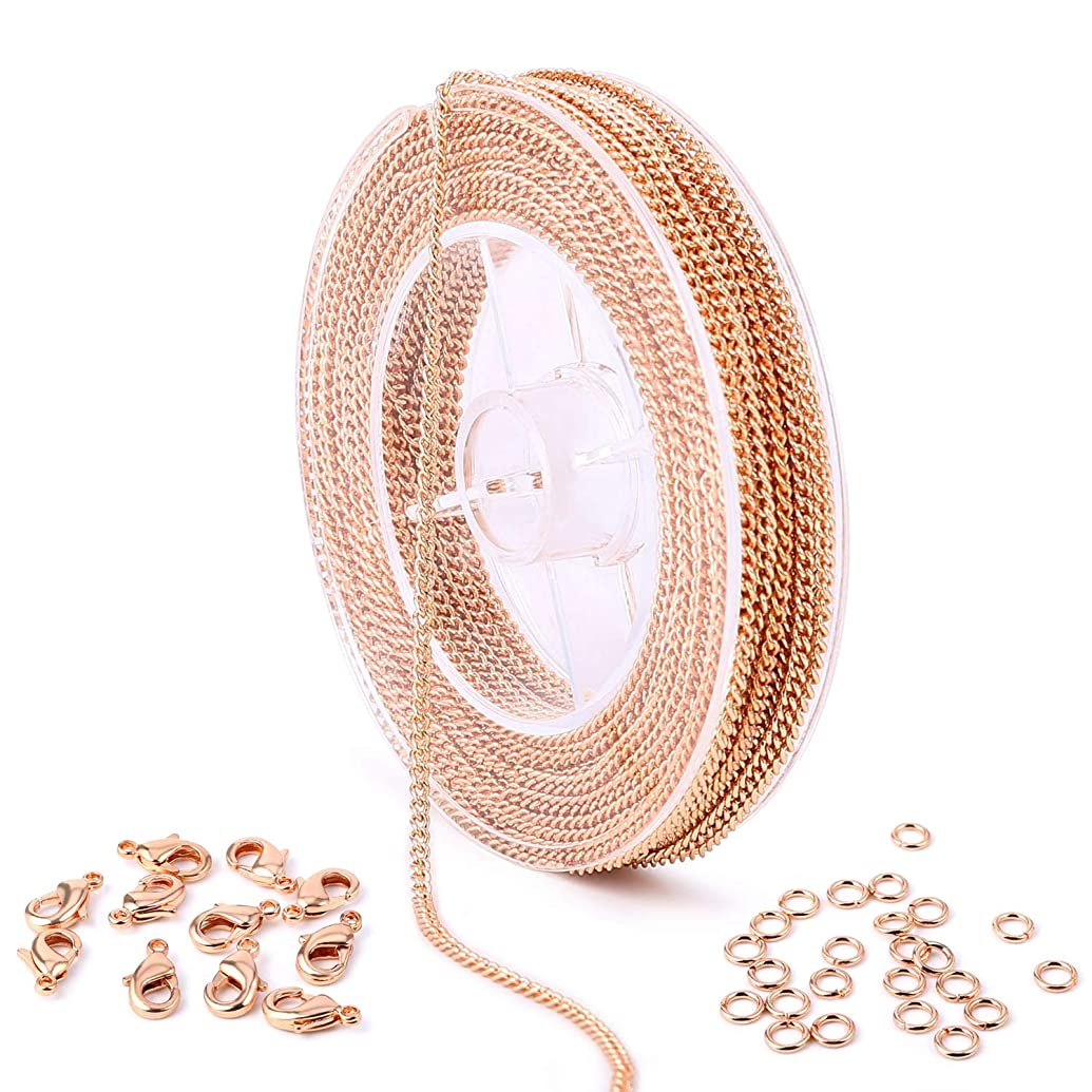 33 Feet Rose Gold Plated Solid Brass Curb Link Chain Roll Bulk for Craft DIY Necklace Jewelry Making (Rose Gold)