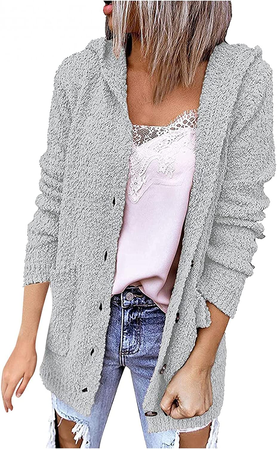 LEIYAN Casual Cable Knit Hooded Sweater for Women Long Sleeve Button Down Open Front Cardigan Jumper Coat Jackets