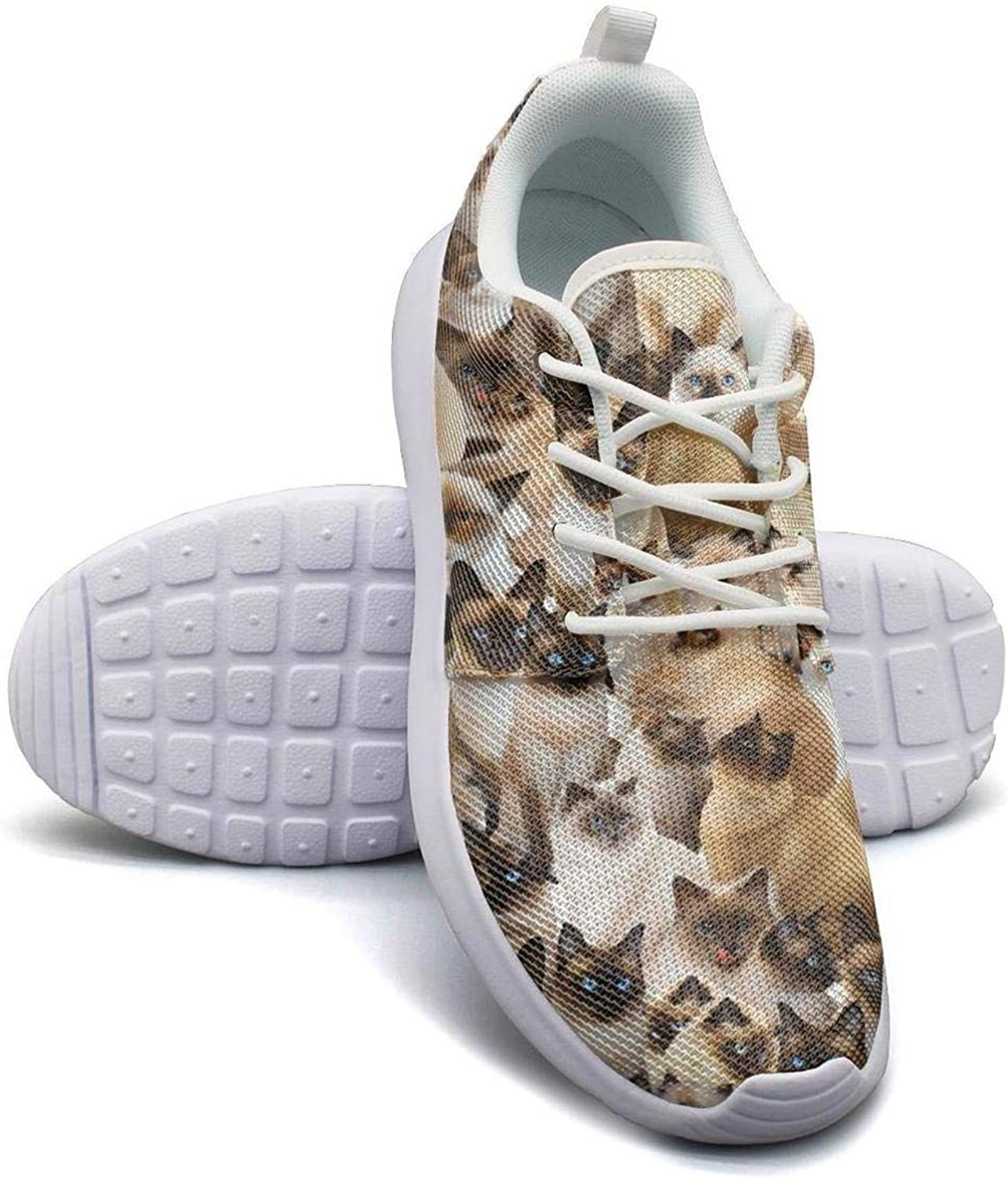 Siamese cat flower donut Walking shoes for Women Classic Shock Absorption Running shoes For Girls