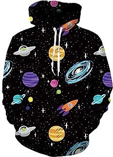 Men Women 3D Printed Plus Velvet Hooded Sweatshirt Casual Pullover Hoodie with Big Pockets