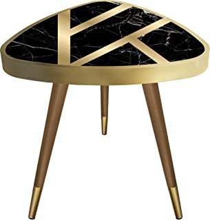 Casaculina Black Marble Patterned Gold Striped Triangle Side End Table Vintage,Retro, Sofa Table,Mid-Century Modern Design Wooden Coffee Table, Cocktail Table for Living Room, Bedroom or Home Office