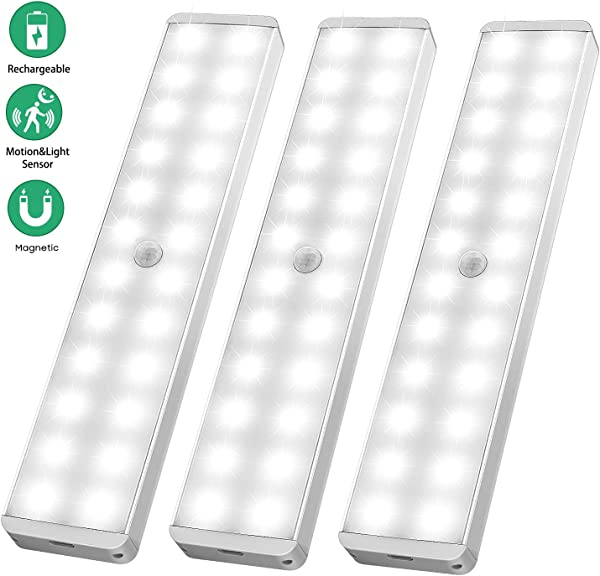 LED Closet Light 24 LED Newest Version Rechargeable Motion Sensor Closet Light Wireless Under Cabinet Light With Large Battery Life For Closet Cabinet Wardrobe Kitchen Hallway 3 Pack